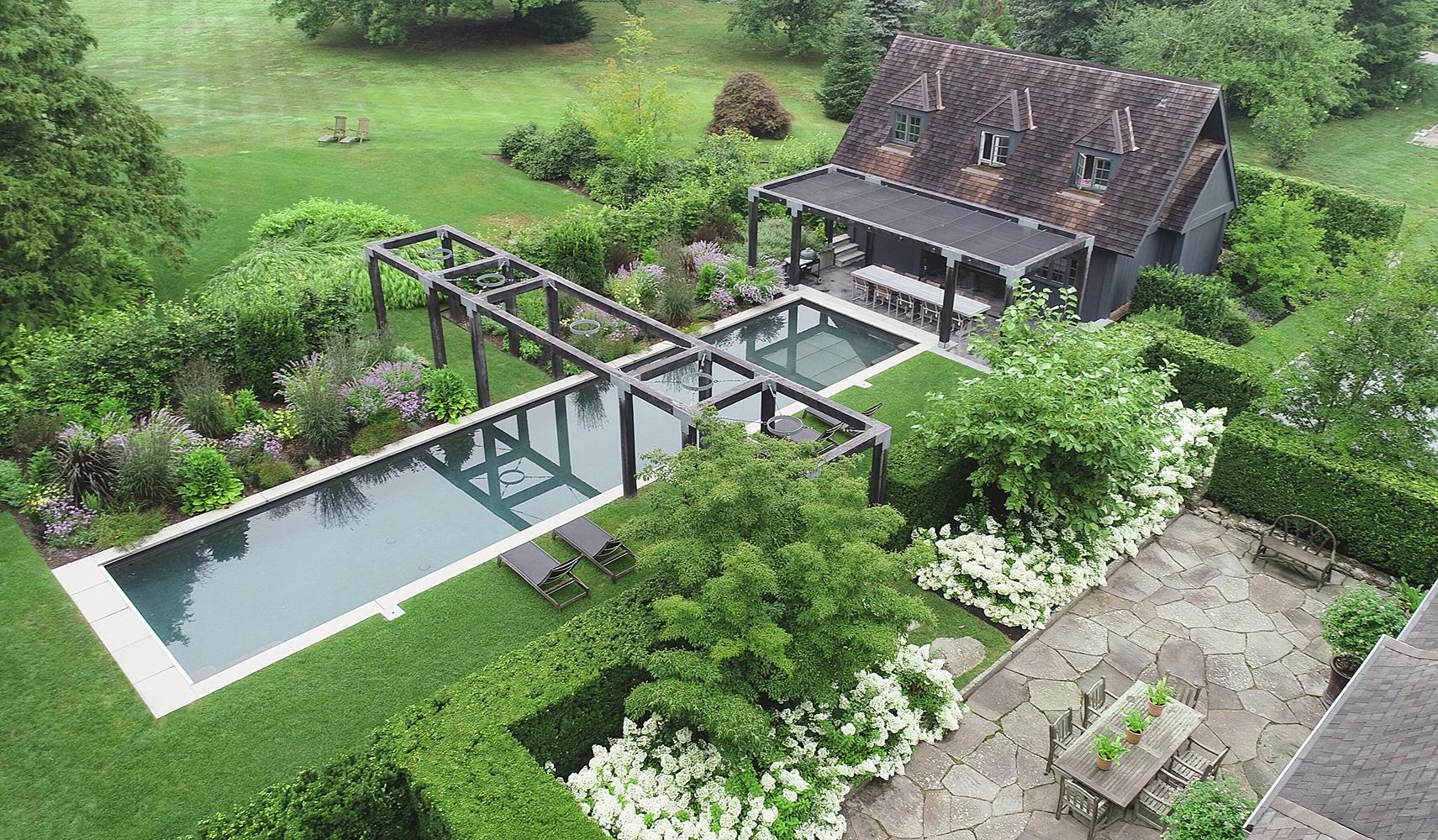 Rhode Island Garden: Woodland garden, pool, outdoor living areas with fire feature