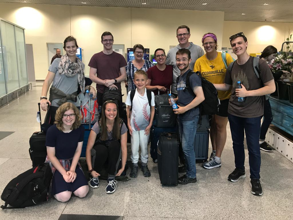 The entire Cornerstone team on arrival in Moscow… and smiling after finally get through our five hour lost baggage line!