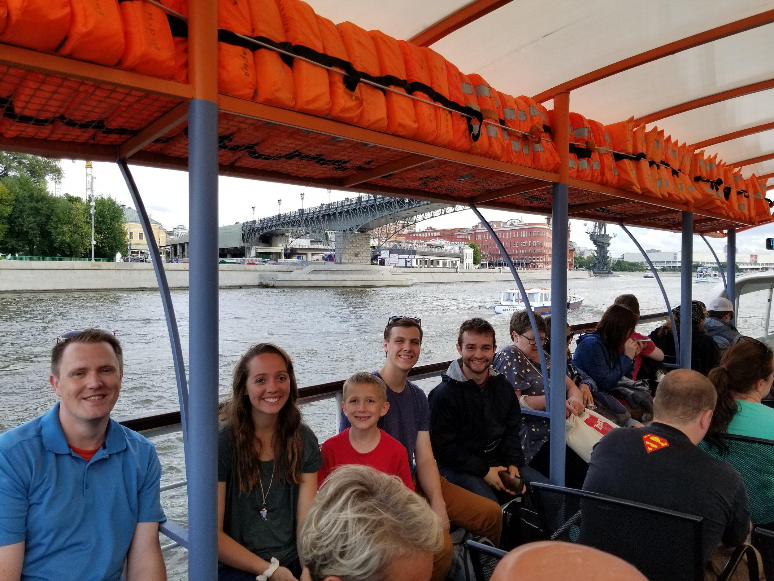 Enjoying a river tour through the city