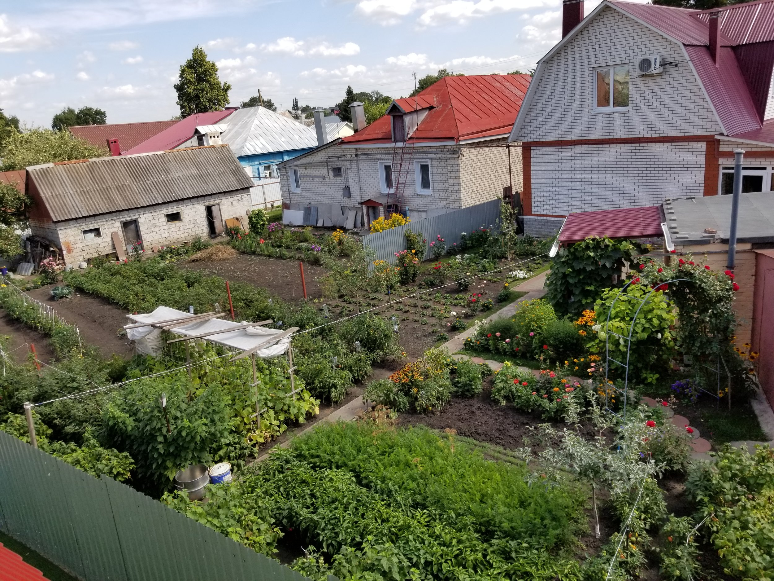 The incredible gardens around the church where the neighbors grow fruits, vegetables and flowers.