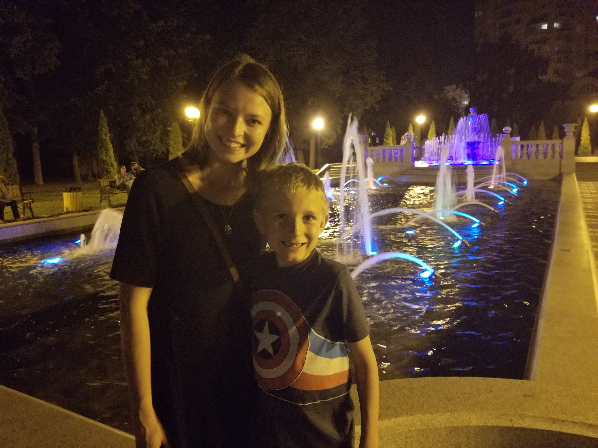 Caleb and Erin enjoying the late night walk by the fountains