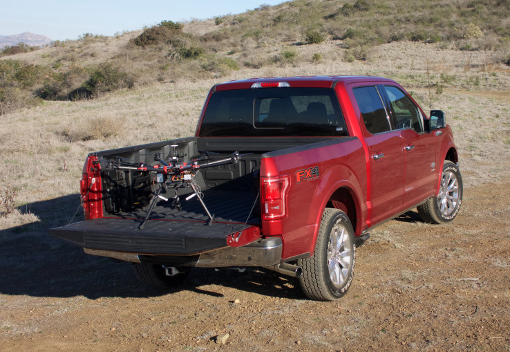 drone in back of Ford F150