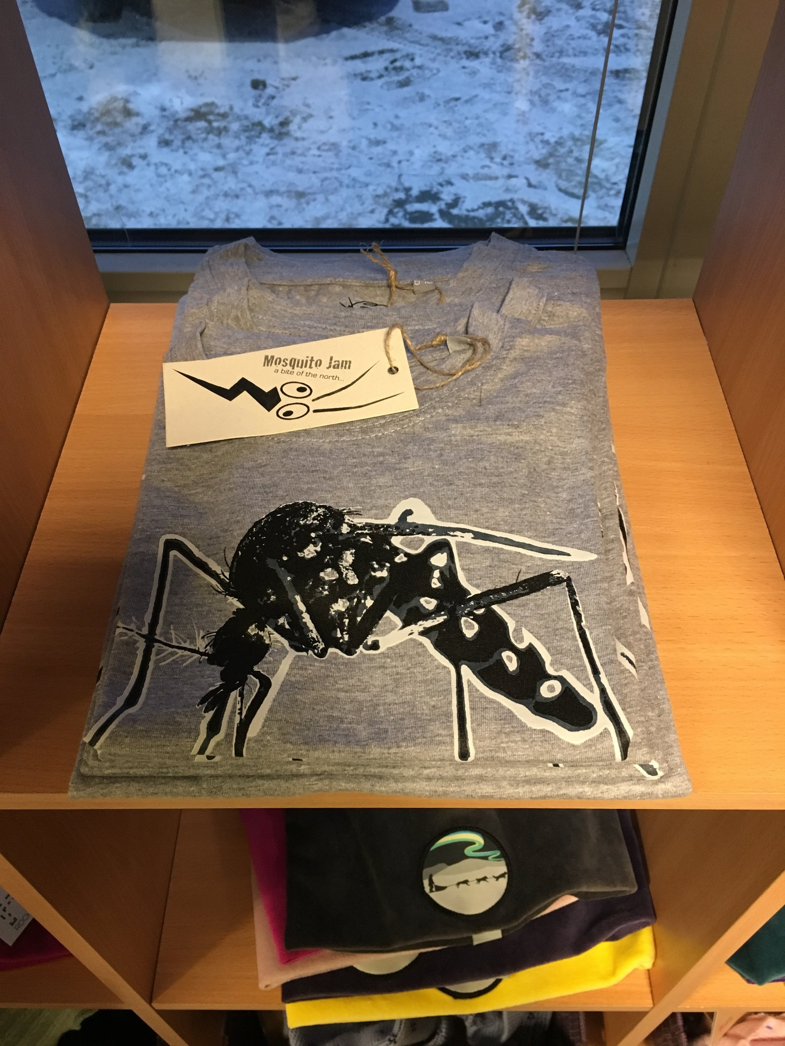 I've been warned about the monster Arctic mosquitos here in the summertime, and the fact they have them on T-shirts kinda proves it.