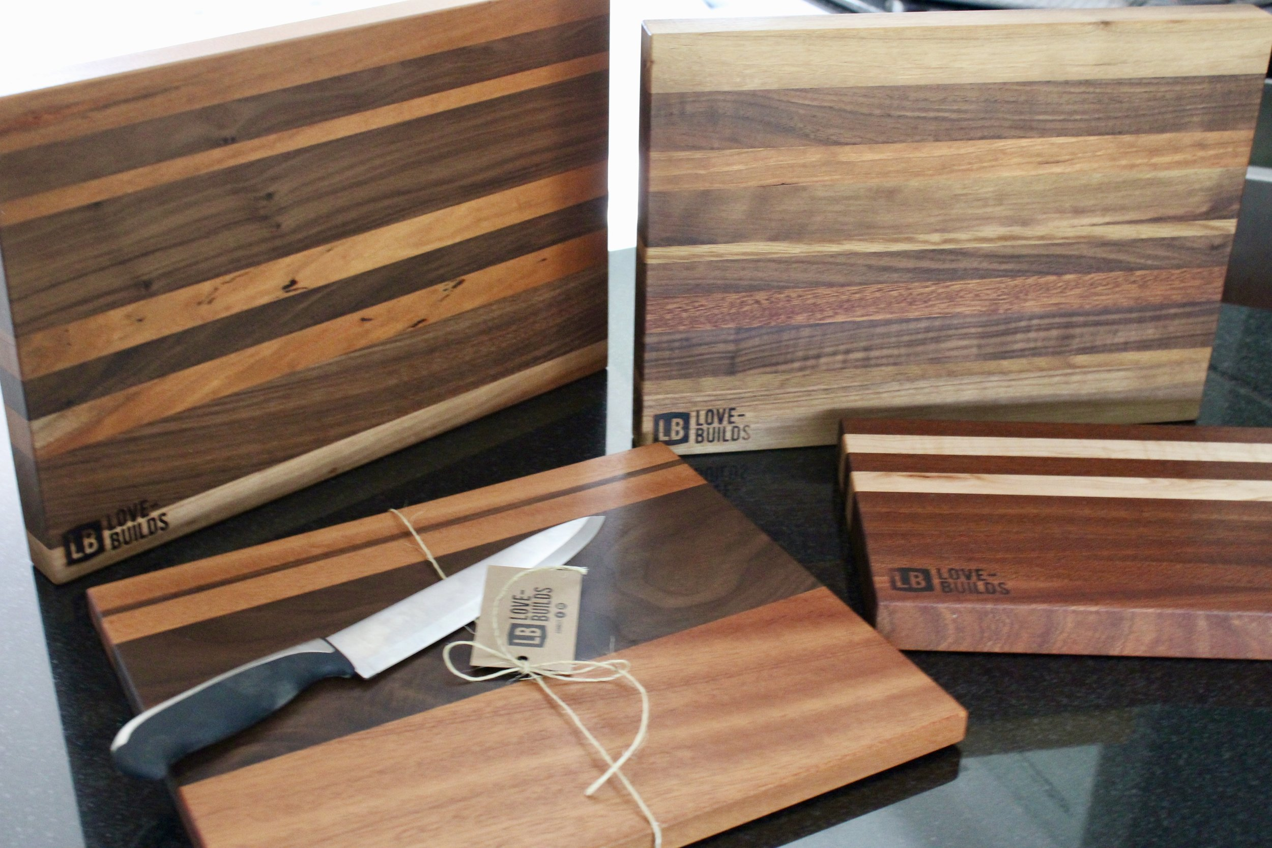 CARVING/SERVING BOARDS - Beautiful, thick boards uniquely crafted together and perfect for carving and serving.
