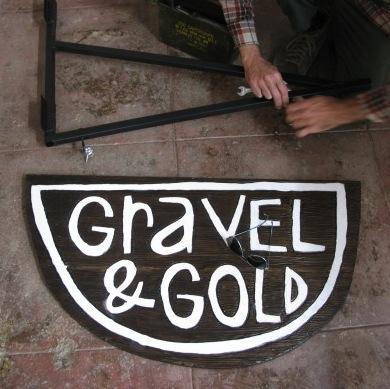 Gravel & Gold Hanging Sign