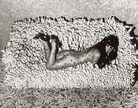 Collage (c. 1966, no longer extant) with photograph by Hal Reiff of Kusama reclining on   Accumulation No. 2
