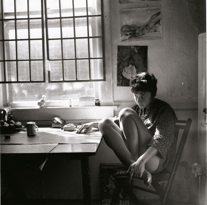 Jay in her Fillmore Street studio, 1960
