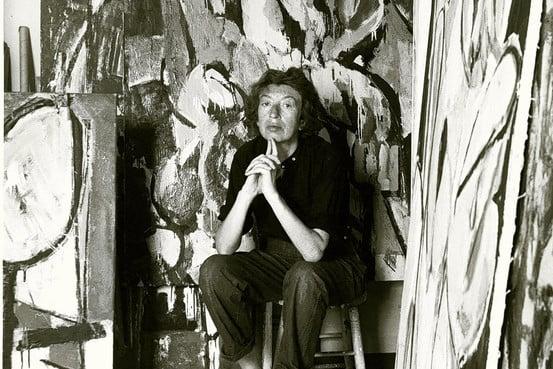 Lee Krasner in her studio, 1956 (Waintrob-Budd, William Morrow)