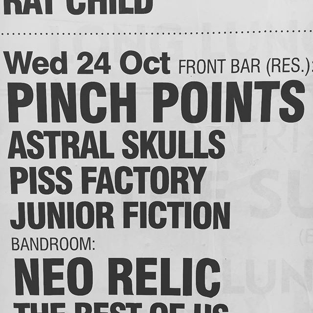 On our way to @thetotehotel - Junior Fiction is up first at 7pm so don't dawdle! Then it's good m8s @pissfactoryband, us, and new m8s @pinchpointsband and all over by 10 then good night. x