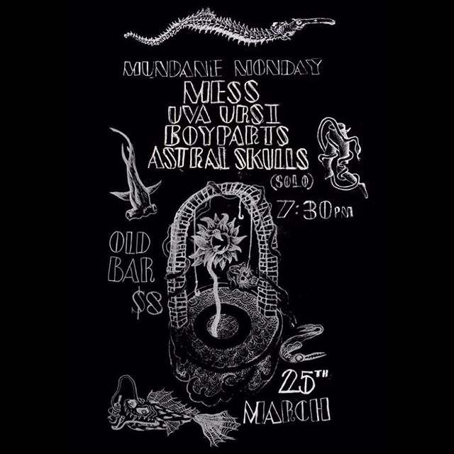 @astralskulls solo set happening at @theoldbar Monday March 25 with @messmelbourne, @uva.ursi_ and @boypartsmusic. 7.30pm / $8  Will be bringing myself, synth, guitar and the 404.  #astralskulls #mess #uvaursi #boyparts #theoldbar #nowave #postpunk #melbourne