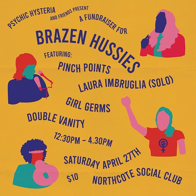 We've jumped on this bill at @northcotesocialclub today! We're opening proceedings at 12.45pm sharp - come along! Also playing : @doublevanitymusic, @girlgermsxo, @lauraimbruglia and @pinchpointsband !!! It's a fundraiser for the amazing doco @brazenhussiesfilm . xx