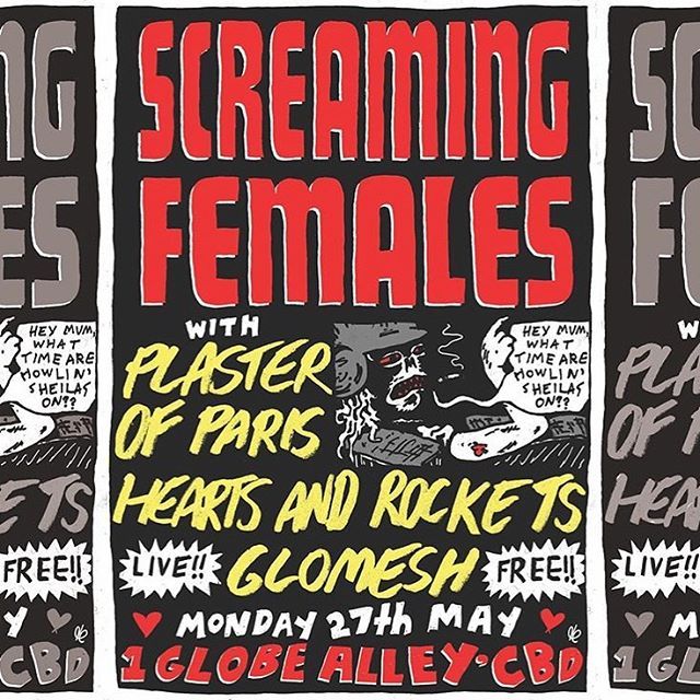 This Monday- we play a FREE show with Screaming Females! It's their last show before heading back to the USA, and our friends Plaster of Paris and Glomesh are both also on the bill (too dreamy). See you at Globe Alley! It's in the CBD, just off Little Bourke near Swanston. Fully accessible and they have really good burgers!  Amazing poster by @blamedylan