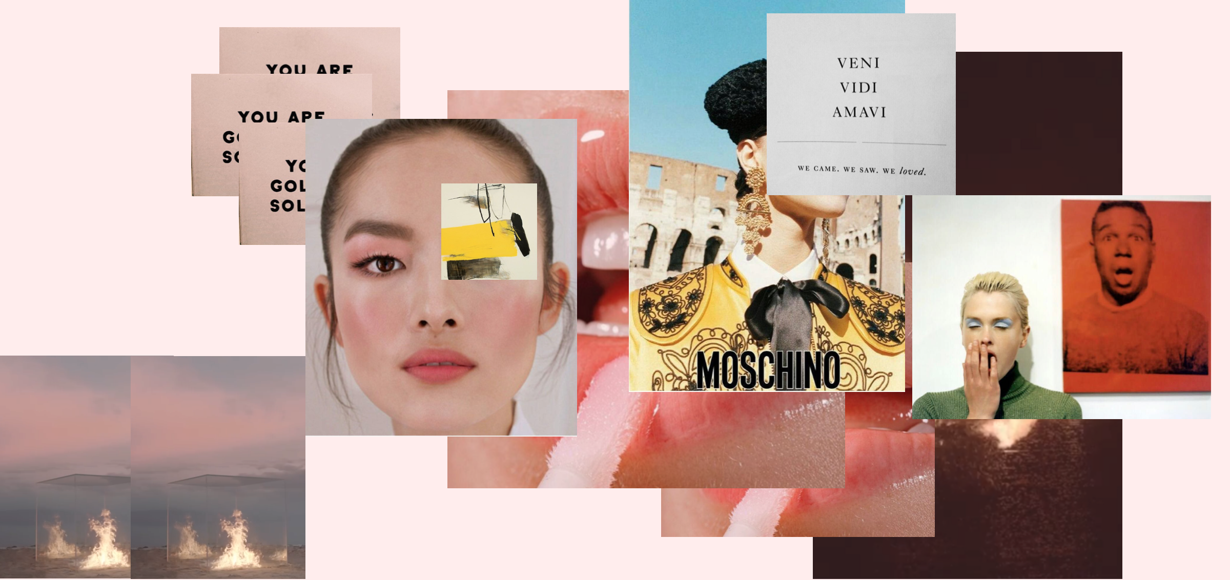 Left to right: Screenshots from 'TRAVIS' YSL S17 /Feifei Sun /'Contact Sensation' by Hyunmee Lee /Glossier Nov 16 / Kasia Struss, Moschino SS12 by Juergen Teller / Kylie Bax, Vogue Italia 96 by Steven Meisel.