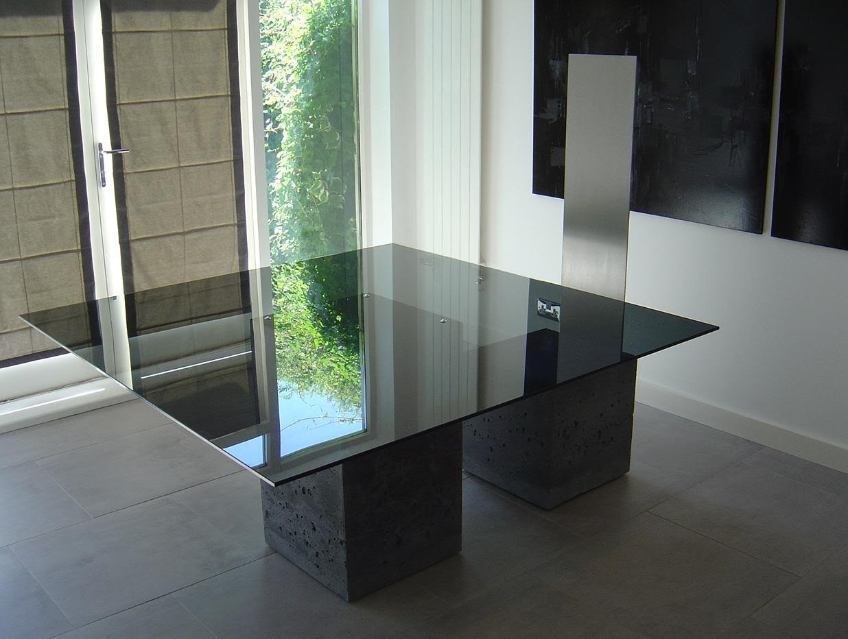 Table: Concrete and Smoked Glass
