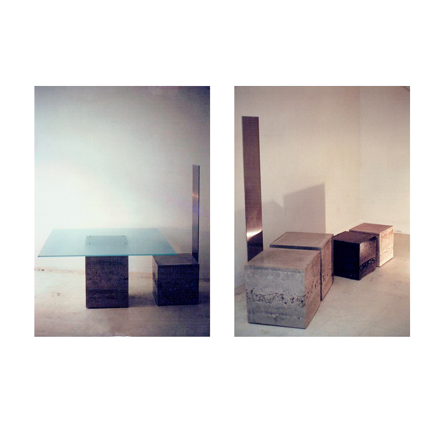 Polished concrete furniture with steel and glass