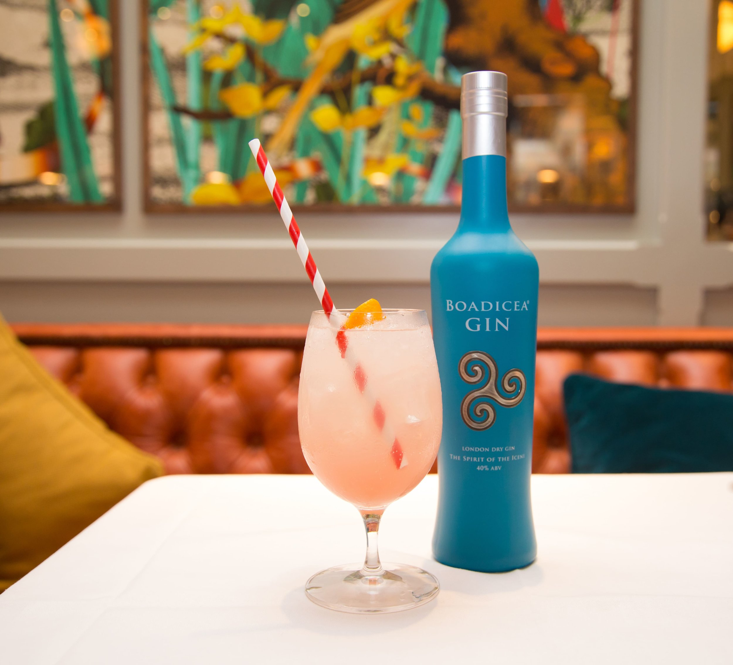 Japanese Warrior cocktail – Boadicea Classic gin, yuzu juice, hibiscus syrup topped with Fever tree lemonade – garnished with orange twist