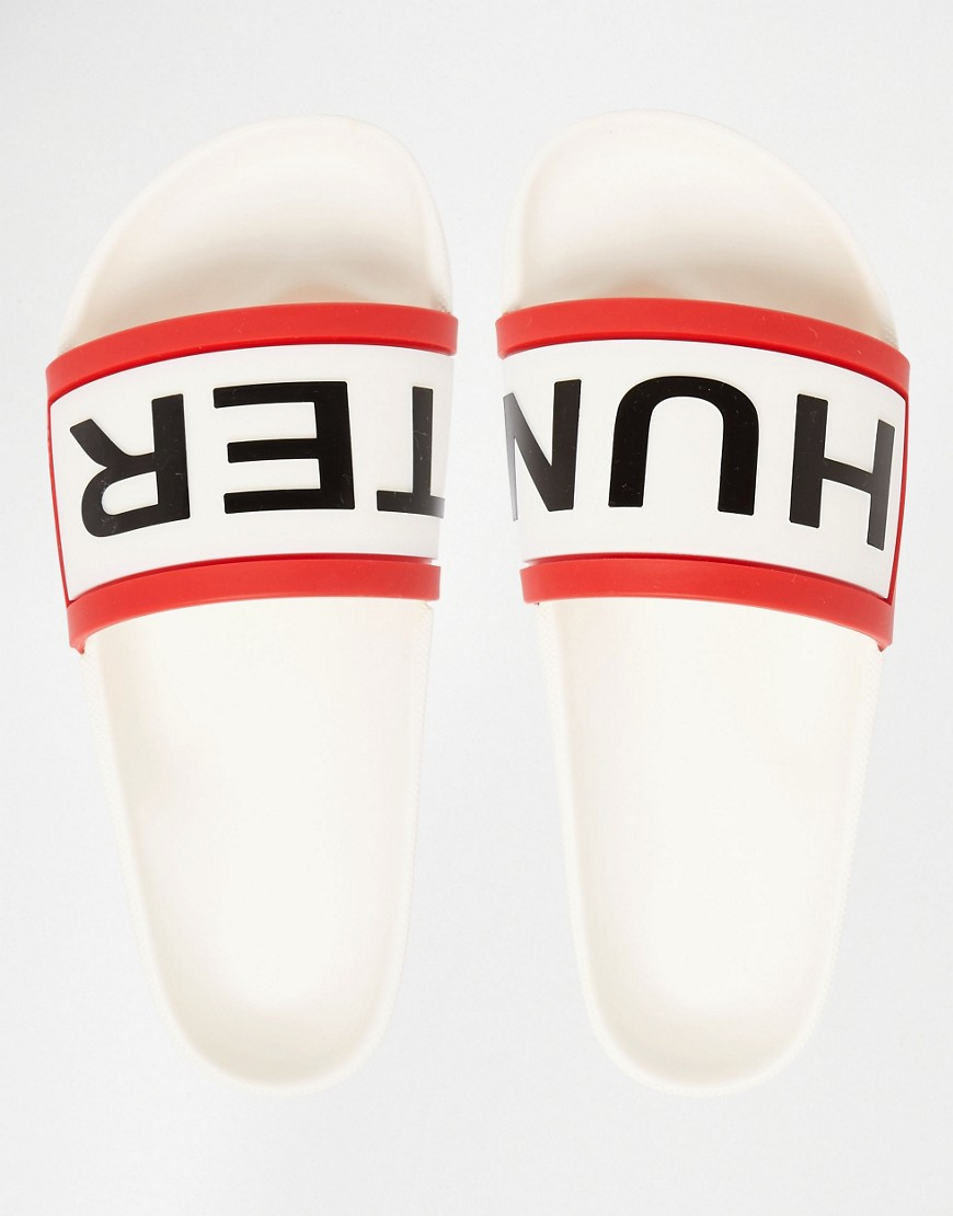 Hunter Logo White Slider Flat Sandals