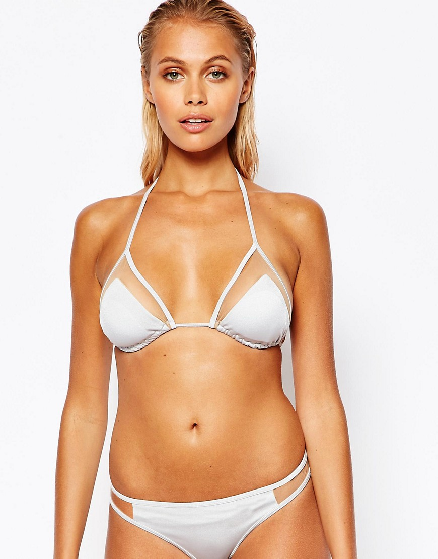 ASOS Mix and Match Silver Mesh Insert Micro Triangle Bikini