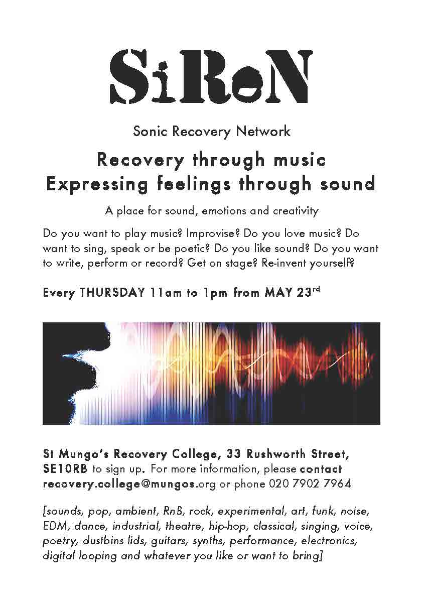 Session times: Thursdays 11am to 1pm from 26th Sept to Dec 12th 2019.SiReN aims to create a sense of freedom to have a place to develop, explore and express sound, emotion and ideas. The group is open to everyone: people who want to learn to play, experienced musicians, people who love music and people who want to perform. - We are interested in people want to perform music and use it to express themselves.The level is open from people who just like music to experienced musicians. The focus is on collaborative music making and improvisation, on performance, style, image and ideas.The theme for the sessions is Universal Emotion inspired by Paul and Eve Ekmans website created with the Dalai Lama http://atlasofemotions.org/Image by www.wonderopolis.org