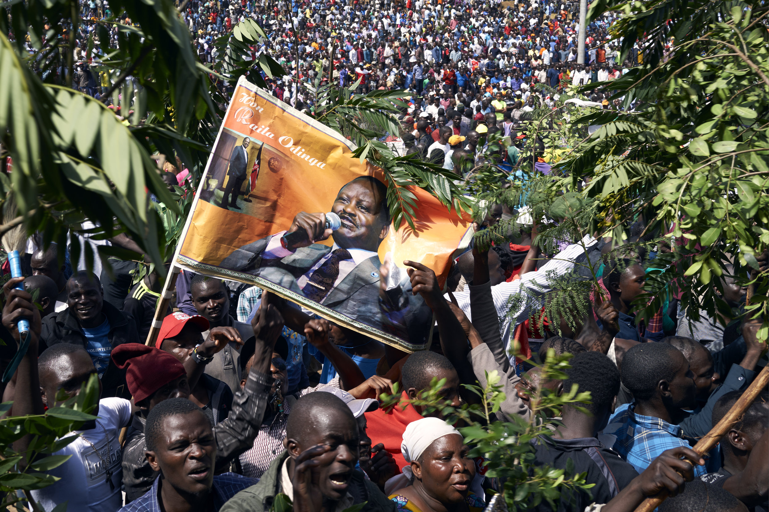 Crowds gather in Uhuru Park, Nairobi to witness the controversial presidential inauguration of Raila Odinga, leader of the opposition to the still-incumbent Jubilee Party. 30/01/18