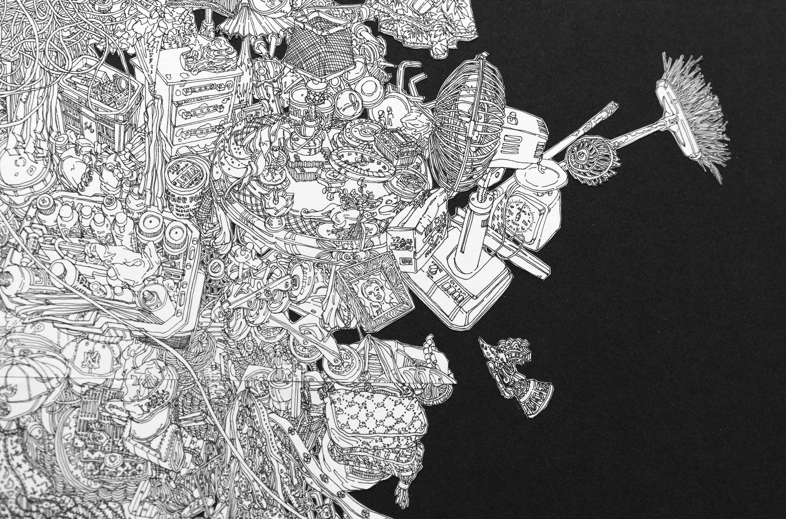 StillLifewithTypewriter_60''x21''_Ped drawing collage on Paper_2019_detail3.jpg