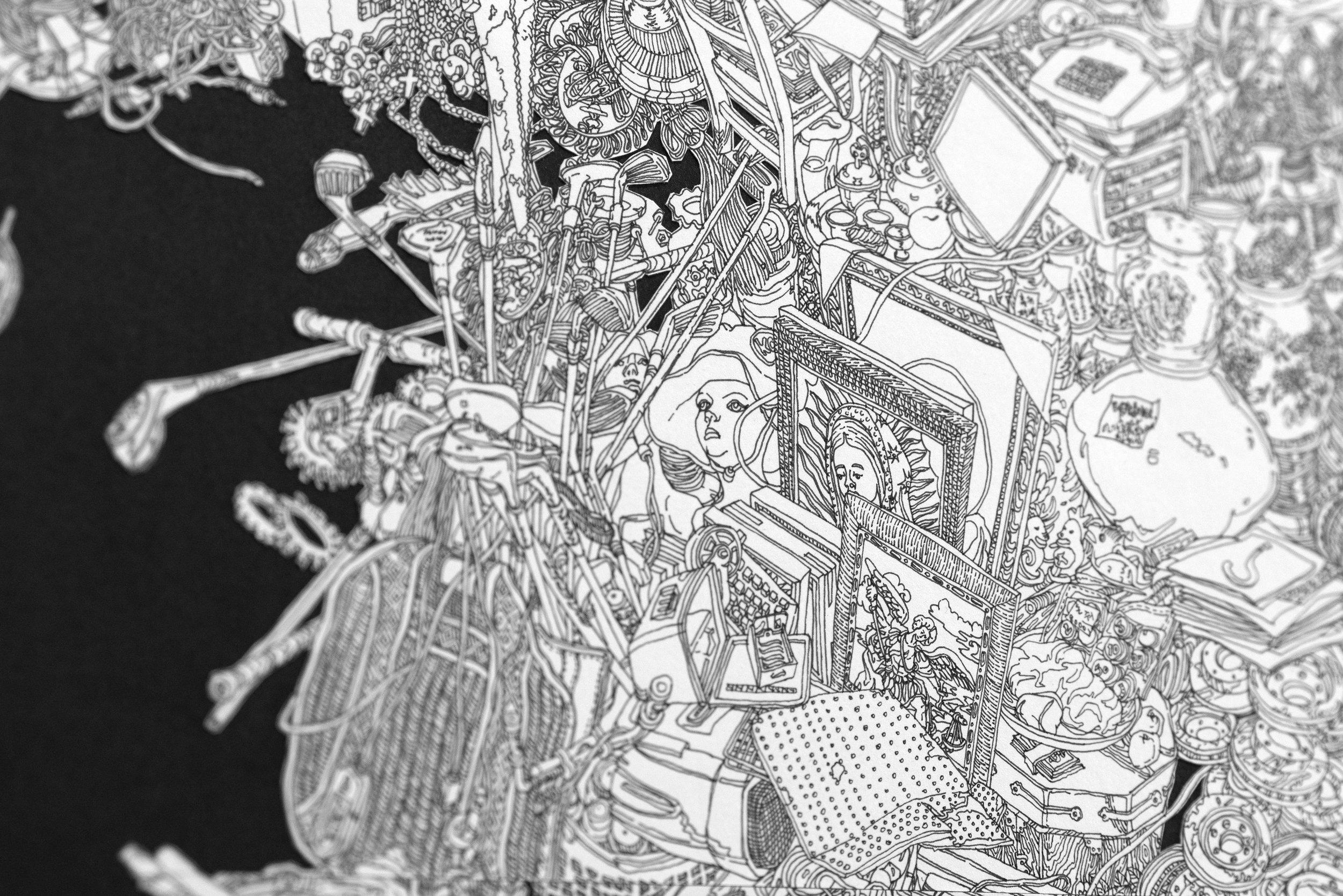 StillLifewithTypewriter_60''x21''_Ped drawing collage on Paper_2019_detail5.jpg