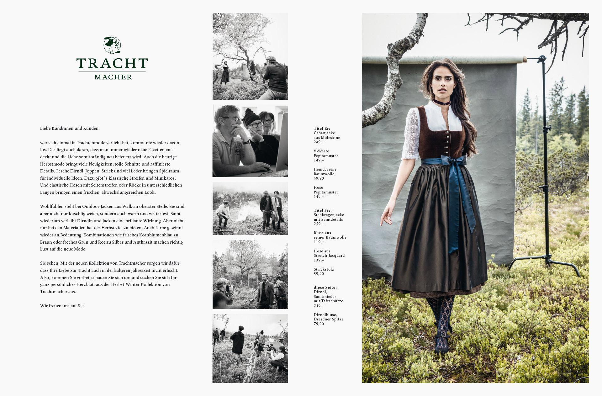 Fotowerk Modefotografie - erste Seite des Trachtmacher Prospektes
