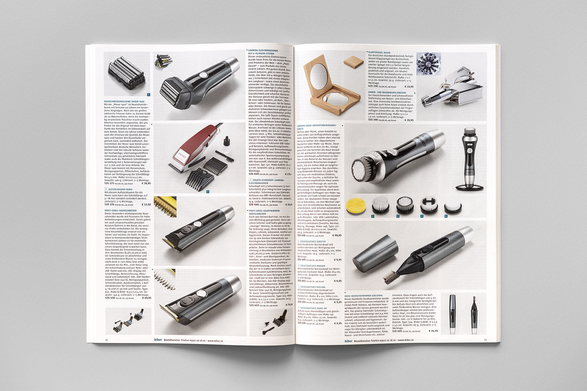 Fotowerk Produktfotografie - Aufgeräumte Katalogseite beim Biber Versand