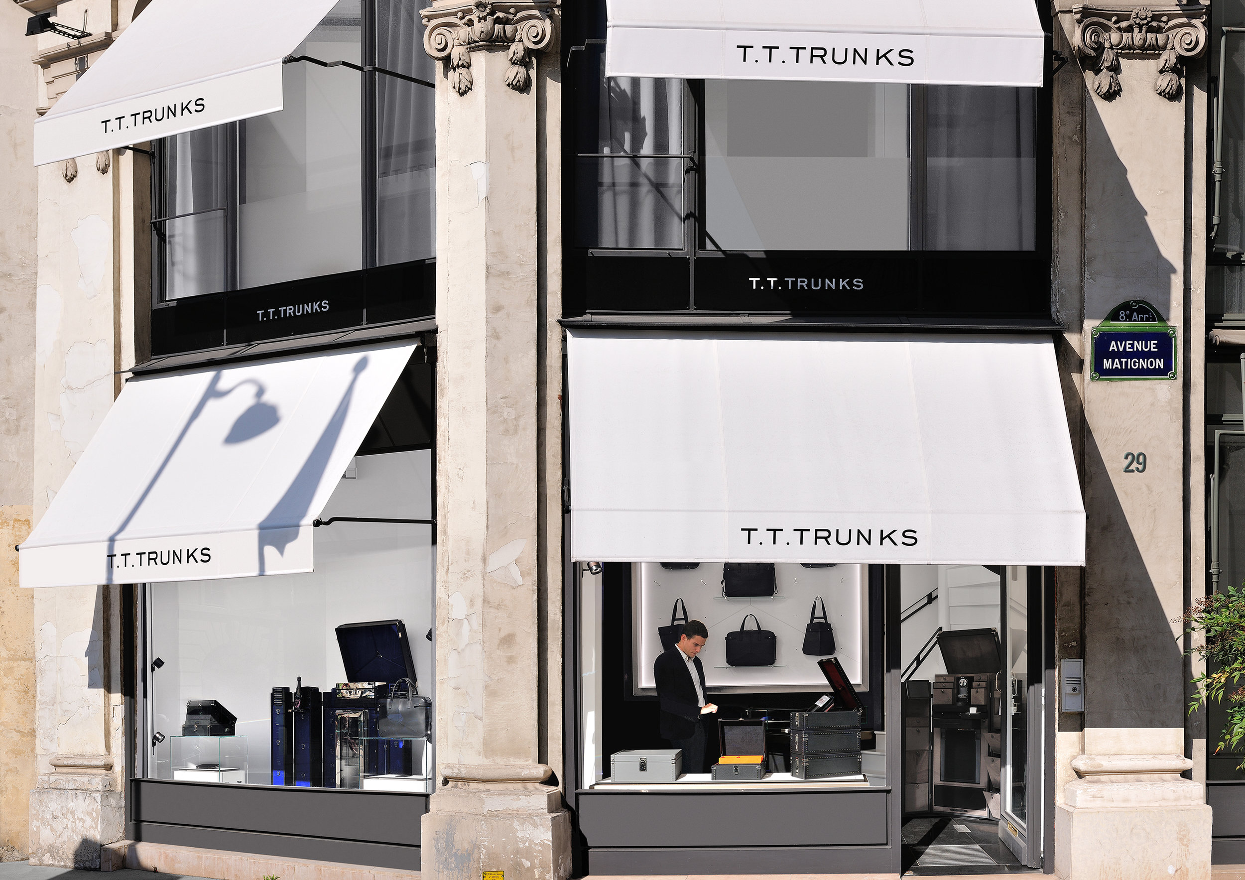 """TTTRUNKS   PARIS, 2010.THE CRADLE OF EXCELLENCE IN FRENCH CREATION, AND SITE OF ITS FUTURE, BECAME THE BIRTHPLACE OF T.T.TRUNKS.  A name that rings, that resounds, for a design house with deep French roots and a global vision. A logo like a talisman that draws its power from the """"House of 3 Rivets"""". The rivets symbolize sharp imagination and unrivalled expertise in creation.  T.T.TRUNKS spirit is NOMADE NO LIMIT... and so you are."""