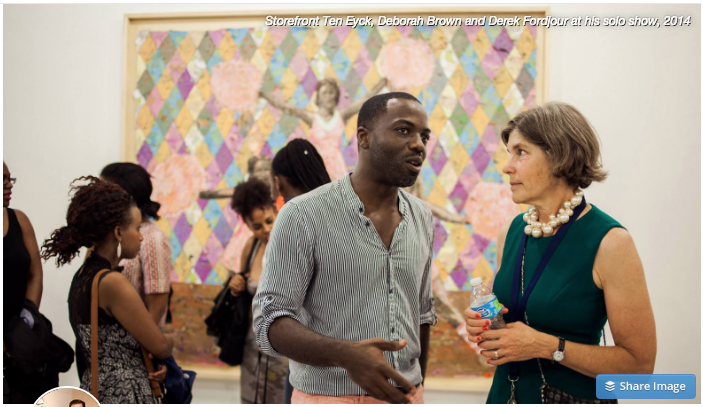 Storefront Ten Eyck, Deborah Brown and Derek Fordjour at his solo show, 2014.