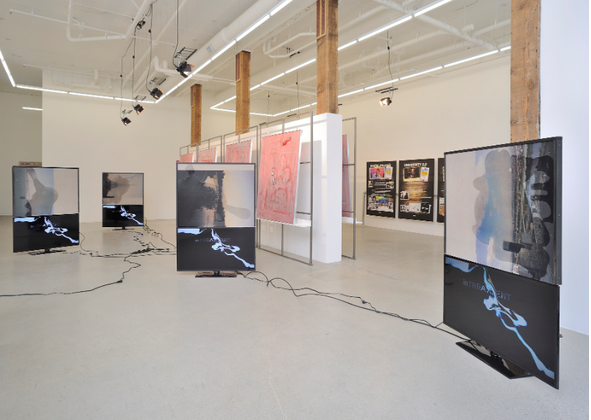 "Installation view of ""The History of Technology,"" a group show featuring Simon Denny, Samuel Levi Jones, Dashiell Manley, Philipp Timischl, Margo Wolowiec, 2014."