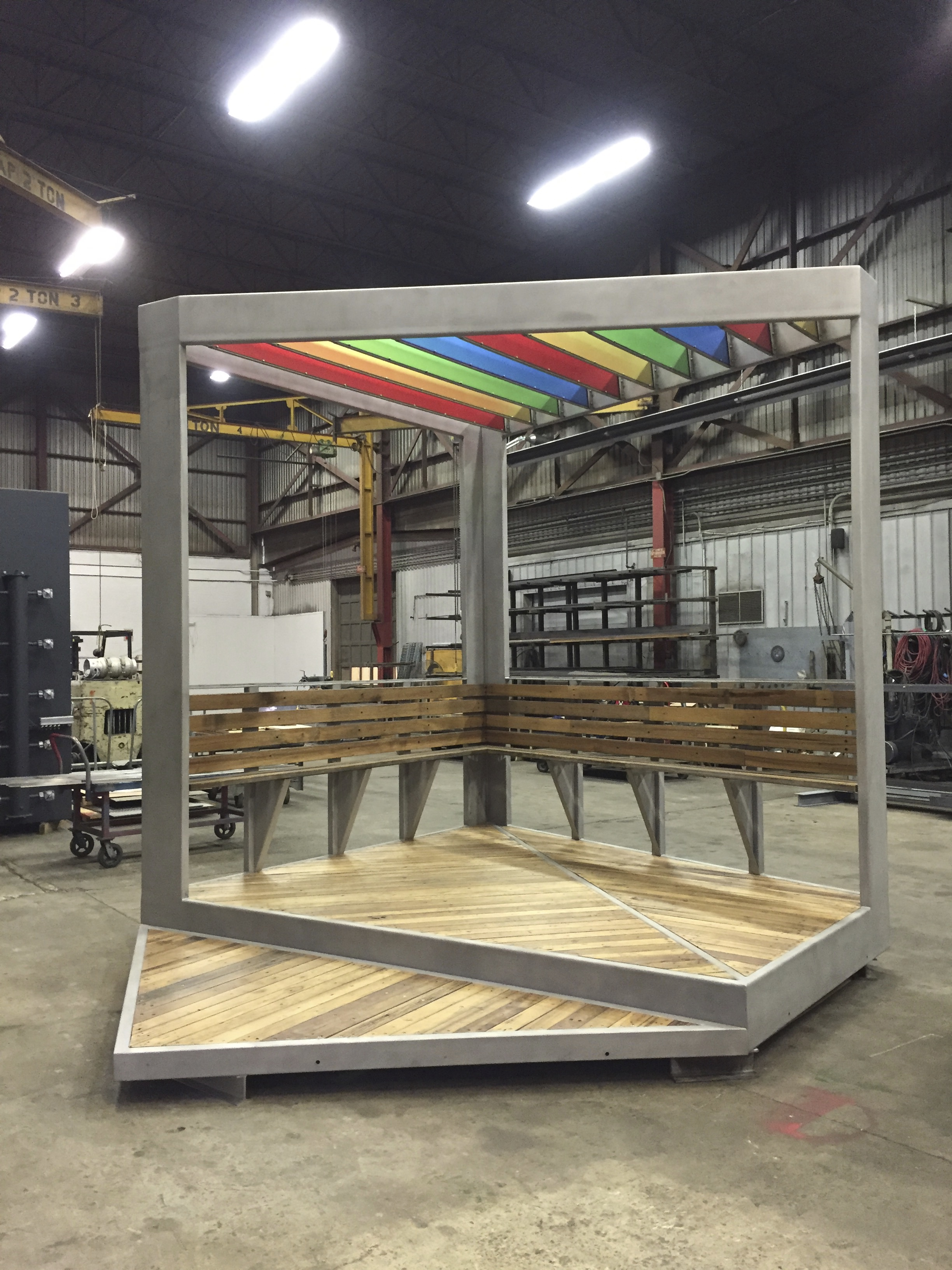 Austin Thomas Plaza Perch, 2016 Stainless Steel, wood decking, acrylic panels 15' x 11' x 12' Soon to be completed stainless steel gazebo-like structure, commissioned by New York City's Department of Cultural Affairs Percent for Art Program. Plaza Perch will feature a colorful acrylic trellised roof and bench for the newly built Humboldt Plaza in East Williamsburg, Brooklyn, NY along Moore Street directly in front of the Moore Street Market. Plaza Perch will be the focal point of the plaza.