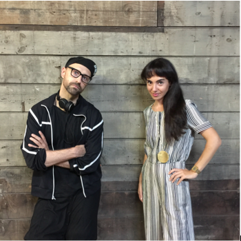 Image Caption: Christopher Stout with Samantha Katz, Curator and co-Organizer of Arts in Bushwick, Bushwick Open Studios and Founder of Created Here