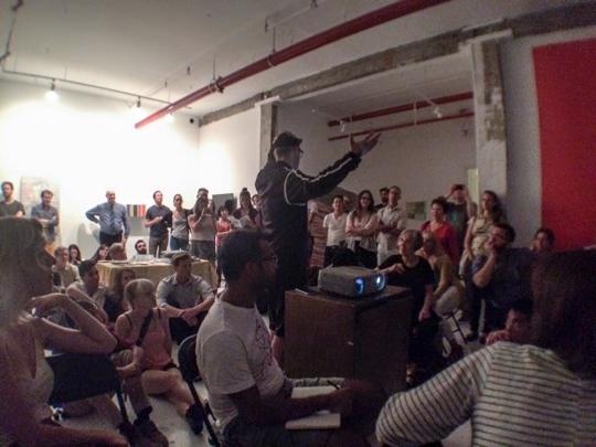 Image Caption: Bushwick Art Crit Group, artist lecture night summer 2015