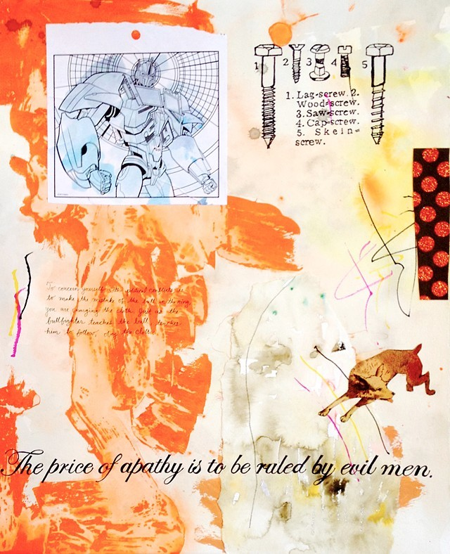 """""""Price of Apathy"""" Mixed Media on Paper by Cara Ober."""