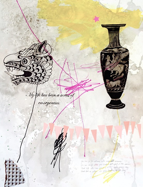 """""""Series of Emergencies"""" Mixed Media on Paper by Cara Ober."""