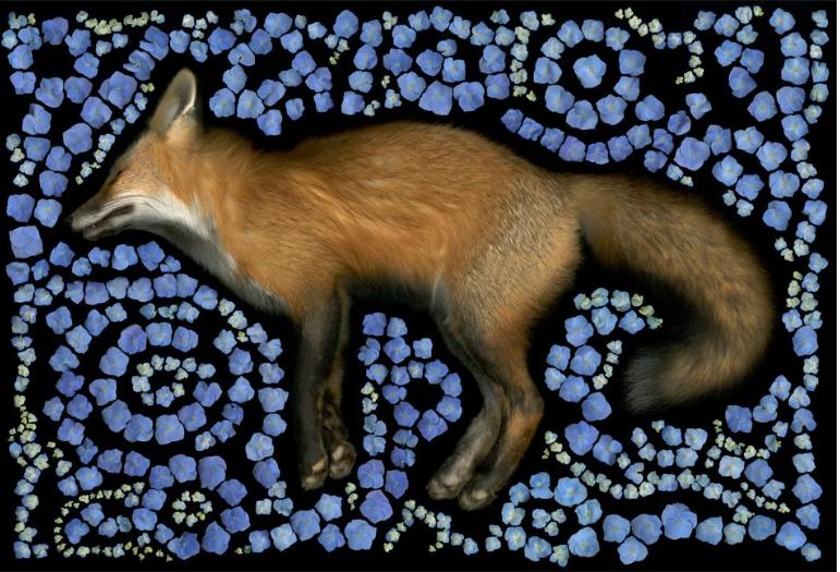 Portia MUNSON   Fox Maze , 2013  pigmented ink on rag paper  60 X 96 in. (152.4 X 243.84 cm)  Courtesy of the artist and P.P.O.W