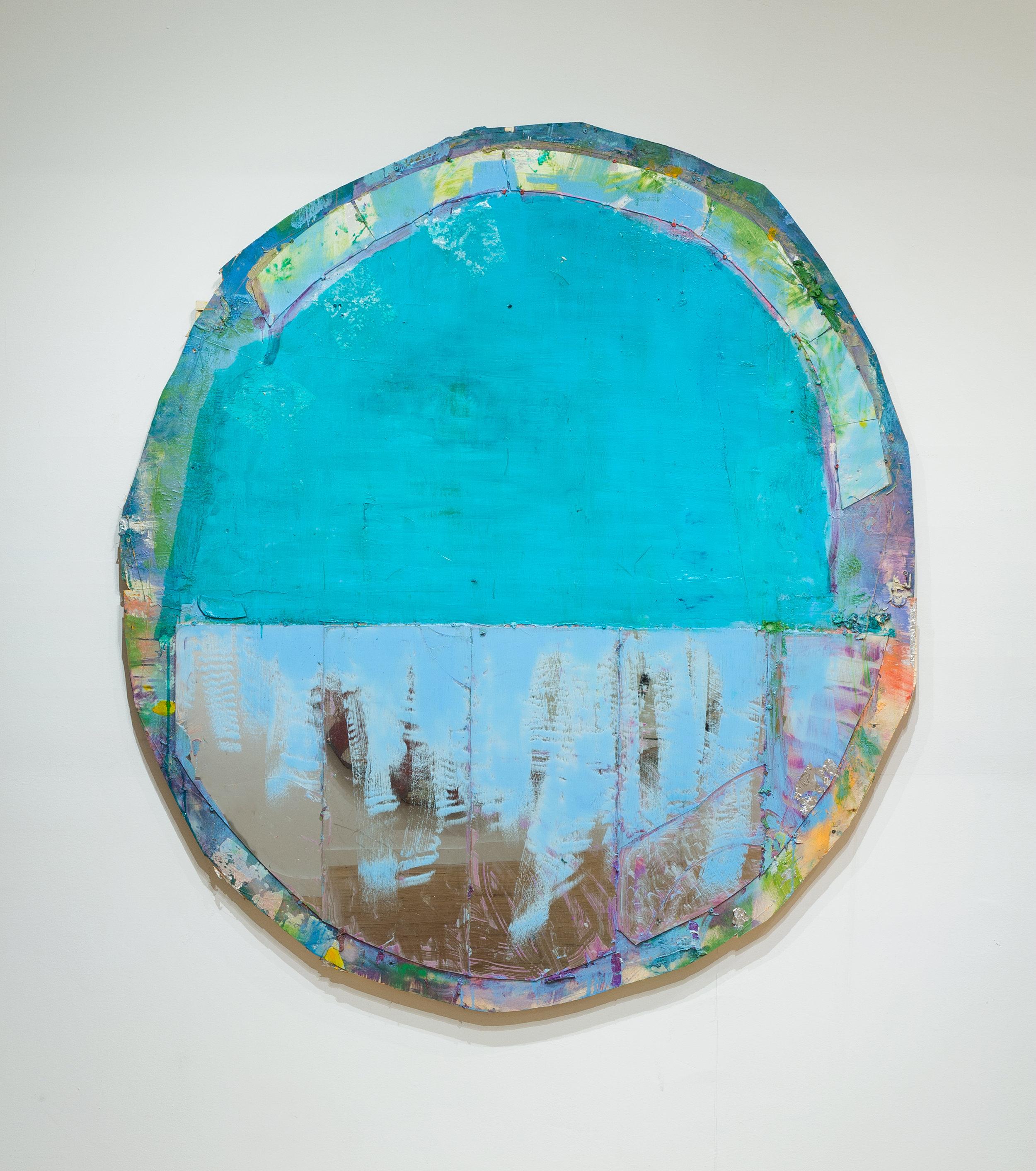"""Daniel John Gadd, """"Rosemma"""", 2016, oil, wax, aluminum leaf and mirrored glass on wooden panel"""