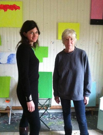 Photo: Jennifer Samet with Mary Heilmann in her Bridgehampton studio for an interview, January 2013