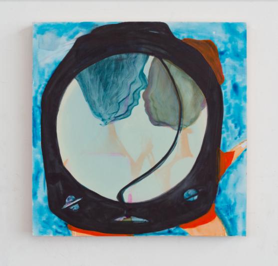 'Aqua', 2016, Ink & Gouache on Panel, 12 x12 inches