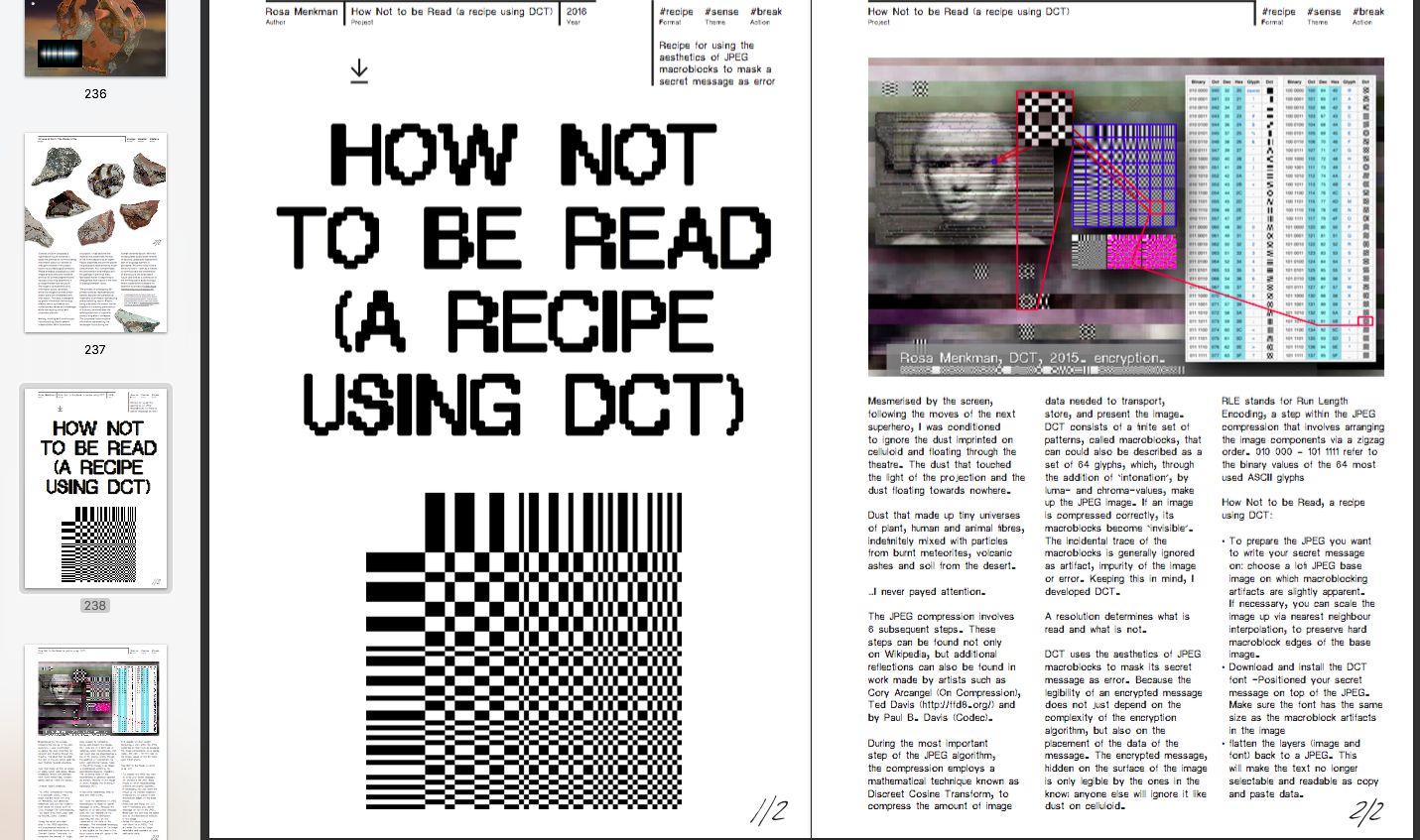 "Rosa Menkman, ""How Not to be Read (A recipe using DCT)"", 2016. P. 238 of the 3D Additivist Cookbook."