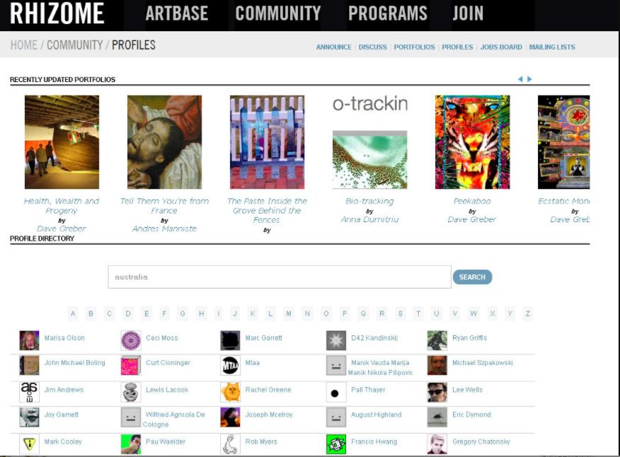 2013 Screenshot of Rhizome.org