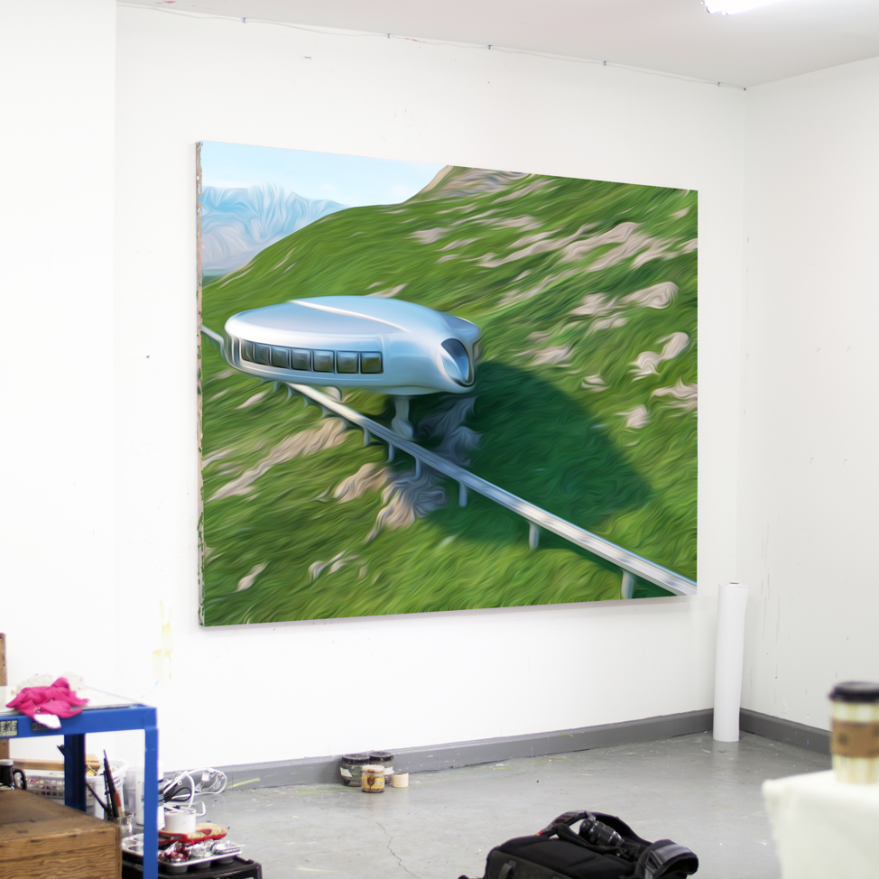 Gyrocar I , 2018, Oil on canvas, 164 x 200 cm, Unique. Image courtesy of the artist.