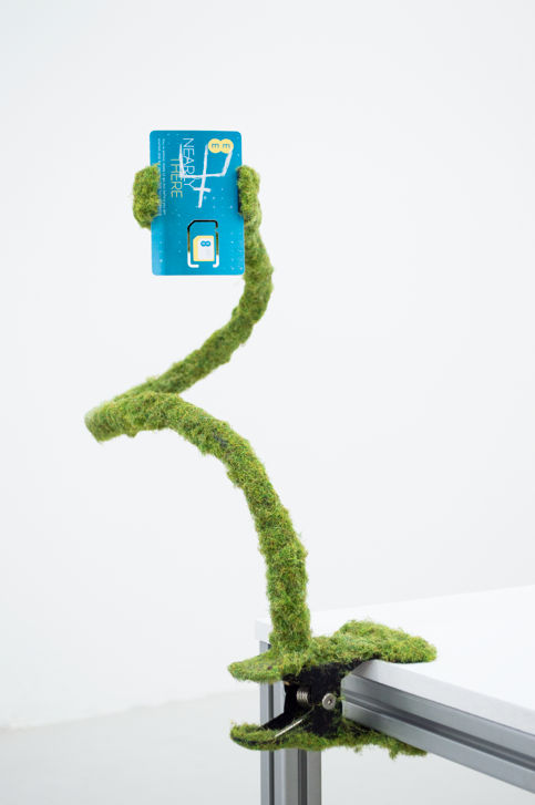 Relic I , 2018, Universal mount holder, artificial grass, SIM card, 50 x 20 x 20 cm. Image courtesy of the artist.