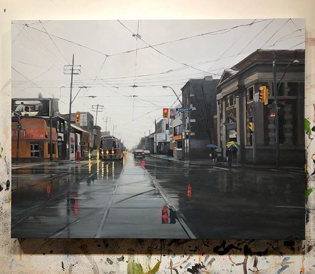 """""""Downtown Canada"""" 36""""x 48"""" ,oil on canvas ➡️💦swipe for details #pizzapizza #timhortons #hudsonbay"""