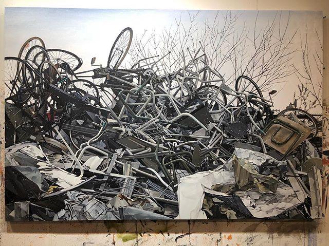 """Cycle"" , oil on canvas 48"" x 72"" 2019 . . . #oilpainting #art #ingramgallery #contemporaryart #contemporarypainting #artcollector #artistsoninstagram #artsy #artnet #canadianartist #torontoartist #ryandineen #artgallery"