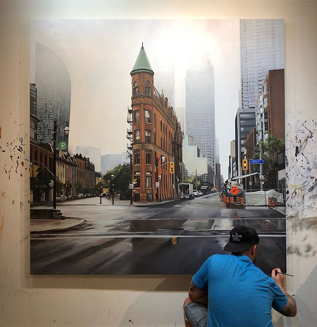 Signing off on this massive commission of the Flatiron Building in Toronto 🖋