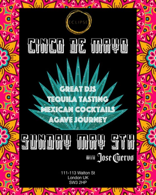 This Sunday! The ultimate Cinco de Mayo celebration in Chelsea. Join us for great DJs, Tequila Tasting, Mexican Cocktails, Agave Journey. 🌵🌵🌵 #cincodemayo #cocktail #cocktails #cocktails🍹#cocktailbar #drinks #bar #drink #mixology #bartender #instagood #party #drinkup #photooftheday #gin #EclipseChelsea