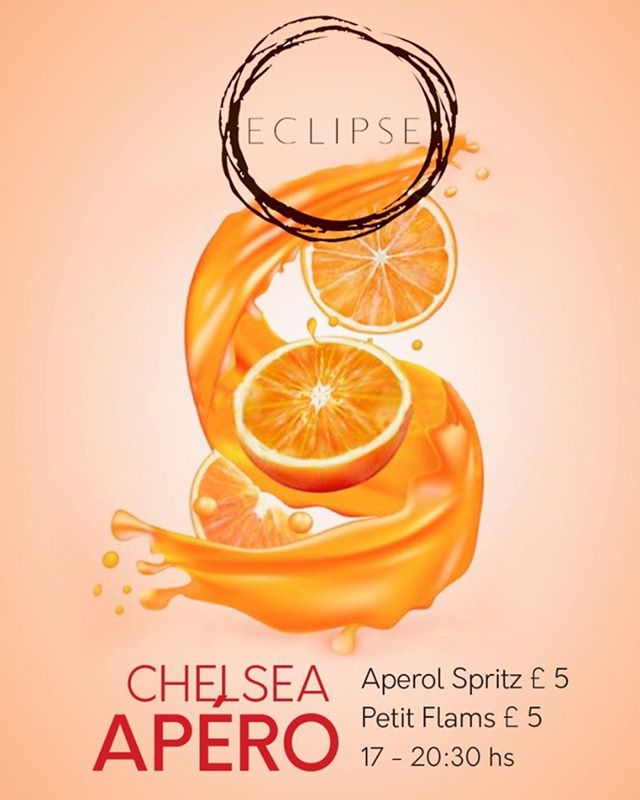 Join this Monday for the first ever Chelsea Apéro! £5 Aperol Spritz and great food deals too, perfect relaxation post work!  #ChelseaAp #AperolSpritz #Flam #cocktail #cocktails #cocktails🍹#cocktailbar #drinks #bar #drink #mixology #bartender #instagood #party #drinkup #photooftheday #gin #EclipseChelsea #bestbars