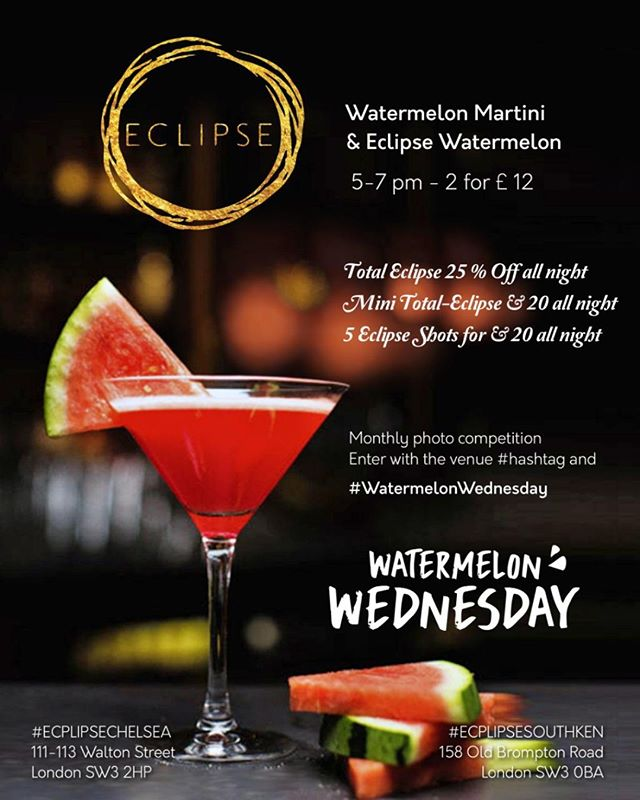 You know what day it is! Come to Eclipse for a slice of summer sun with Watermelon Wednesday! 🍉🍸🍹 #WatermelonWednesday #londonnights #cocktails #cocktailsofinstagram #eclipsechelsea #London #cocktail #Chelsea #bar #WatermelonWednesday